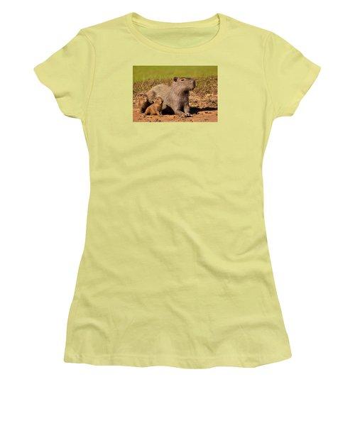 Capybara Family Enjoying Sunset Women's T-Shirt (Junior Cut) by Aivar Mikko