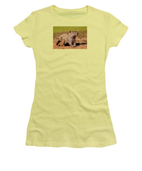 Capybara Family Enjoying Sunset Women's T-Shirt (Athletic Fit)