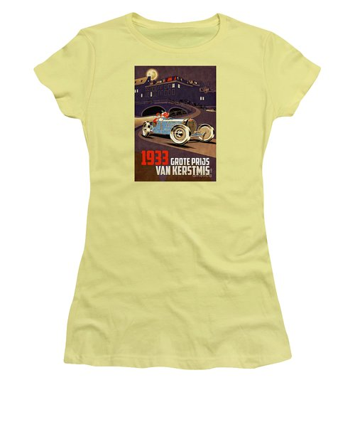 Car Racing Christmas Poster Of The 30s Women's T-Shirt (Athletic Fit)