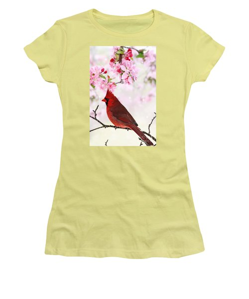 Cardinal Amid Spring Tree Blossoms Women's T-Shirt (Junior Cut) by Stephanie Frey