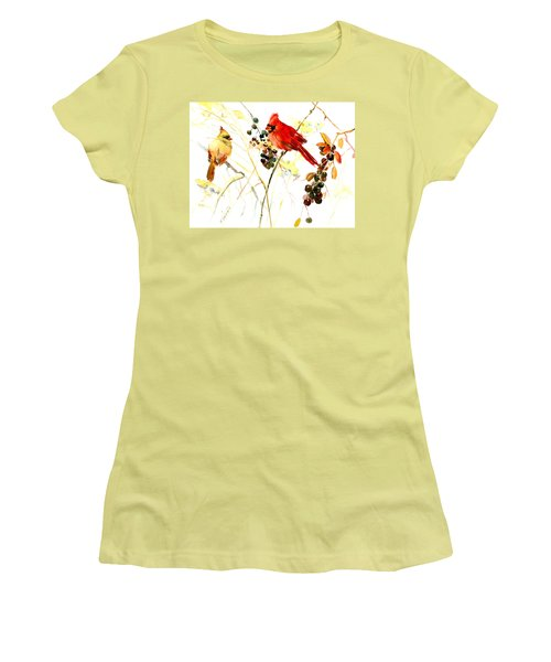 Cardinal Birds And Berries Women's T-Shirt (Athletic Fit)