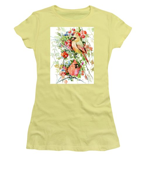 Cardinal Birds And Hawthorn Women's T-Shirt (Junior Cut) by Suren Nersisyan