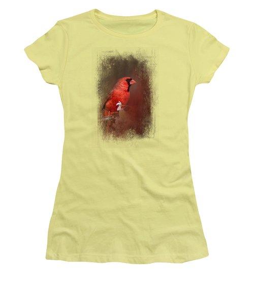 Cardinal In Antique Red Women's T-Shirt (Junior Cut)