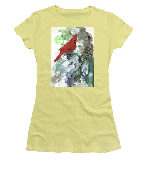 Women's T-Shirt (Junior Cut) featuring the painting Cardinal by Sherry Shipley
