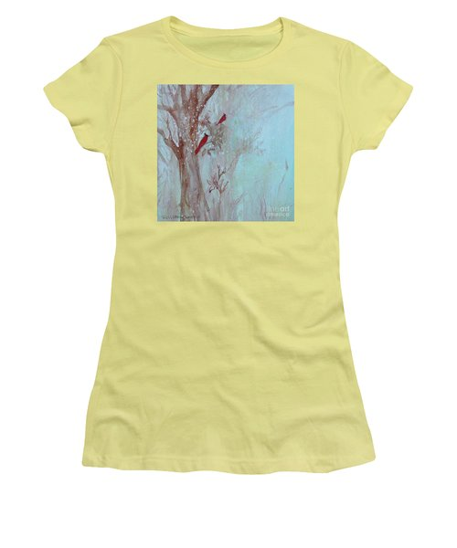 Women's T-Shirt (Athletic Fit) featuring the painting Cardinals In Trees Whilst Snowing by Robin Maria Pedrero