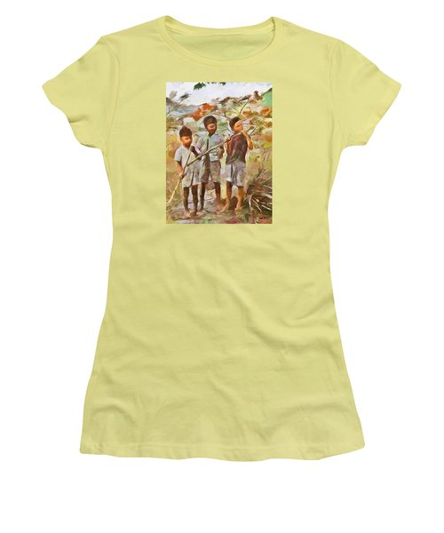 Women's T-Shirt (Junior Cut) featuring the painting Caribbean Scenes - Eating Sugarcane by Wayne Pascall