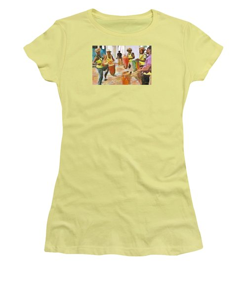 Women's T-Shirt (Junior Cut) featuring the painting Caribbean Scenes - Folk Drummers by Wayne Pascall