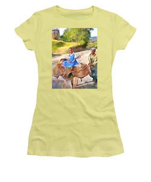 Caribbean Scenes - School In De Country Women's T-Shirt (Junior Cut) by Wayne Pascall