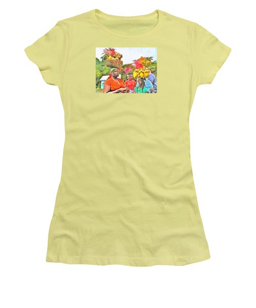 Women's T-Shirt (Junior Cut) featuring the painting Caribbean Scenes - Headstrong Women by Wayne Pascall