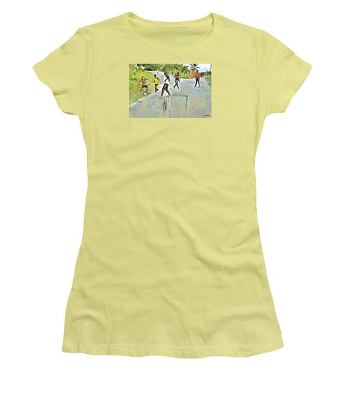 Women's T-Shirt (Junior Cut) featuring the painting Caribbean Scenes - Small Goal In De Street by Wayne Pascall