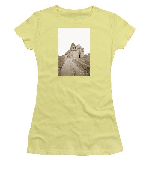 Carmel Mission South Side Circa 1915 Women's T-Shirt (Junior Cut) by California Views Mr Pat Hathaway Archives
