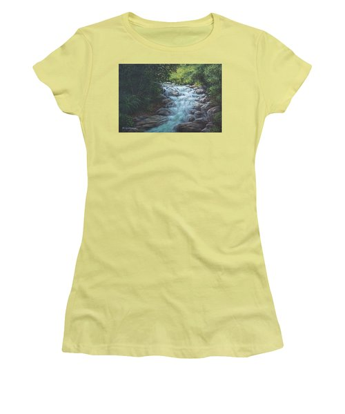 Women's T-Shirt (Junior Cut) featuring the painting Cascading Stream by Kim Lockman