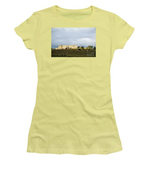 Women's T-Shirt (Athletic Fit) featuring the photograph Castle Ruin In Spotlight by Kennerth and Birgitta Kullman