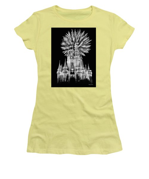 Castle With Fireworks In Black And White Walt Disney World Mp Women's T-Shirt (Junior Cut) by Thomas Woolworth