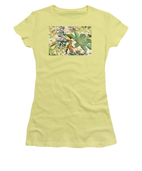 Women's T-Shirt (Junior Cut) featuring the photograph Castor Oil Plant by Ray Shrewsberry