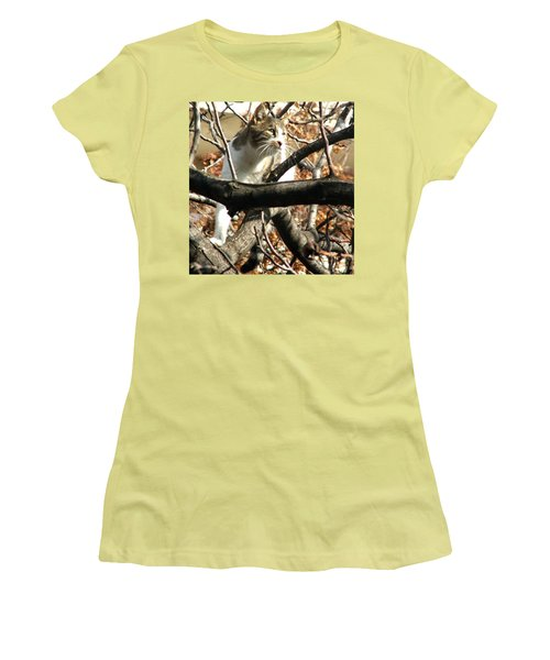 Cat Hunting Bird Women's T-Shirt (Athletic Fit)