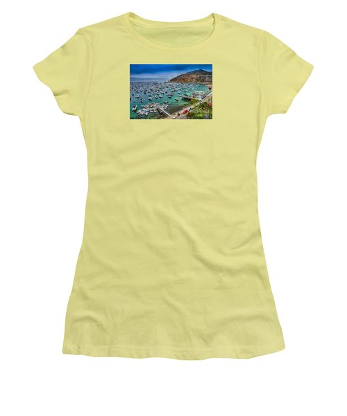 Catalina Island  Avalon Harbor Women's T-Shirt (Junior Cut) by David Zanzinger