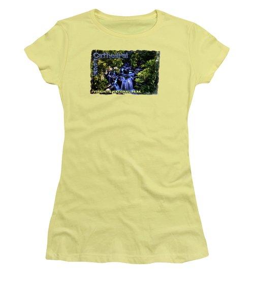 Cathedral Creek Cascade On The Tioga Pass Women's T-Shirt (Junior Cut) by Roger Passman