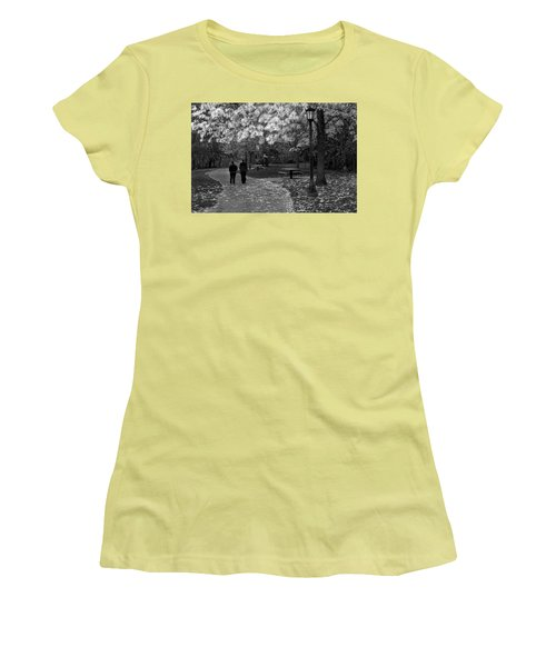 Cathedral Park In Fall Bw Women's T-Shirt (Athletic Fit)