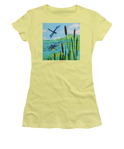Cattails And Dragonflies Women's T-Shirt (Athletic Fit)