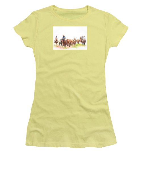 Cattle Drive Women's T-Shirt (Junior Cut) by David and Carol Kelly