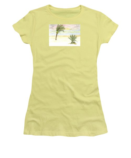 Women's T-Shirt (Junior Cut) featuring the digital art Cayman Beach by Darren Cannell