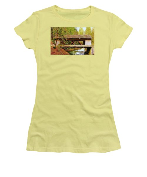 Cedar Creek Grist Mill Covered Bridge Women's T-Shirt (Athletic Fit)
