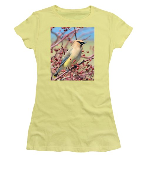 Women's T-Shirt (Athletic Fit) featuring the photograph Cedar Waxwing by Debbie Stahre