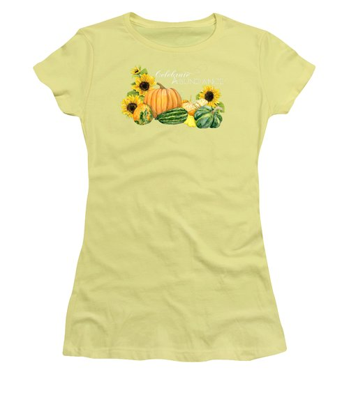 Celebrate Abundance - Harvest Fall Pumpkins Squash N Sunflowers Women's T-Shirt (Athletic Fit)