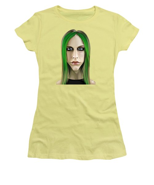 Women's T-Shirt (Junior Cut) featuring the drawing Celebrity Sunday - Avril Lavigne by Rob Snow