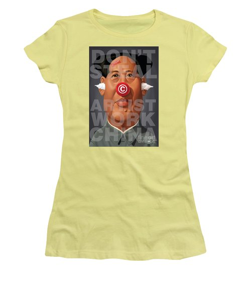 Women's T-Shirt (Junior Cut) featuring the drawing Celebrity Sunday - Mao Tse-took My Artwork by Rob Snow