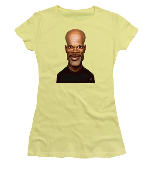 Women's T-Shirt (Junior Cut) featuring the drawing Celebrity Sunday - Samuel L Jackson by Rob Snow