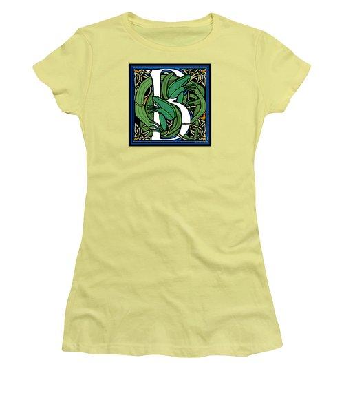 Women's T-Shirt (Junior Cut) featuring the digital art Celt Frogs Letter B by Donna Huntriss