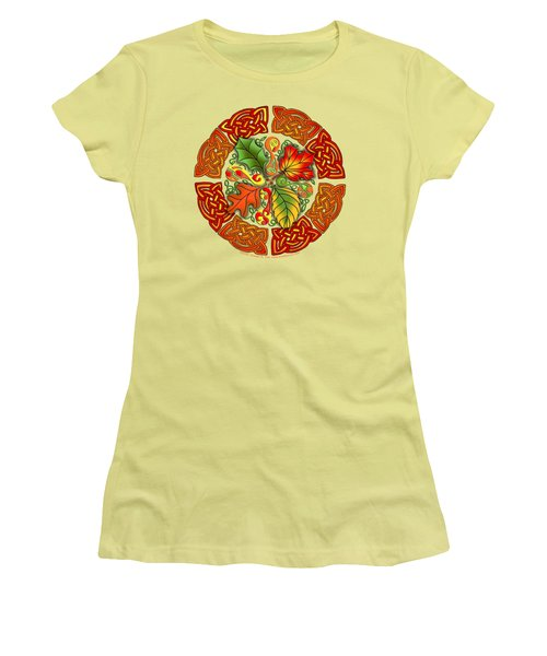 Celtic Autumn Leaves Women's T-Shirt (Junior Cut) by Kristen Fox