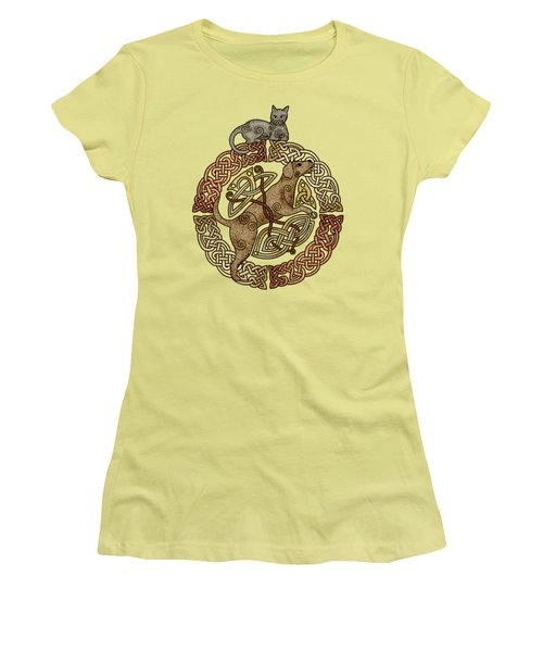 Celtic Cat And Dog Women's T-Shirt (Junior Cut) by Kristen Fox