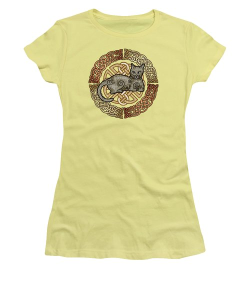 Women's T-Shirt (Junior Cut) featuring the mixed media Celtic Cat by Kristen Fox
