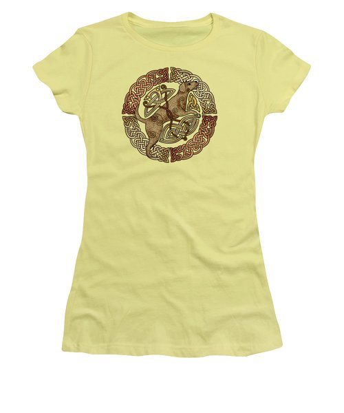 Women's T-Shirt (Junior Cut) featuring the mixed media Celtic Dog by Kristen Fox