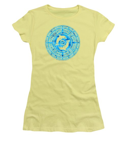 Women's T-Shirt (Junior Cut) featuring the mixed media Celtic Dolphins by Kristen Fox