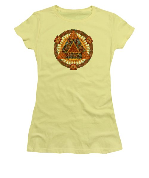 Celtic Pyramid Mandala Women's T-Shirt (Junior Cut) by Kristen Fox