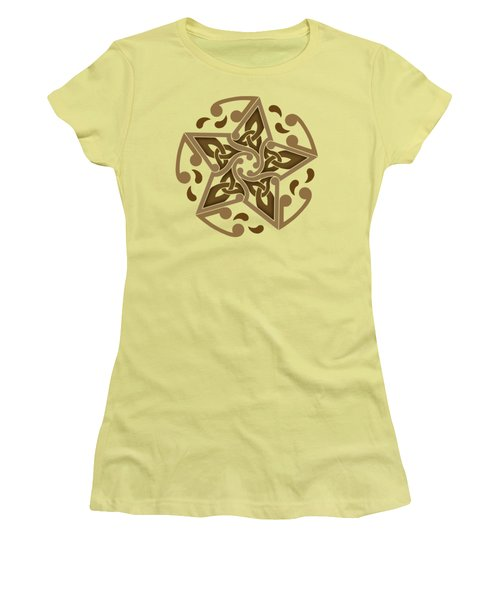 Women's T-Shirt (Junior Cut) featuring the mixed media Celtic Star by Kristen Fox