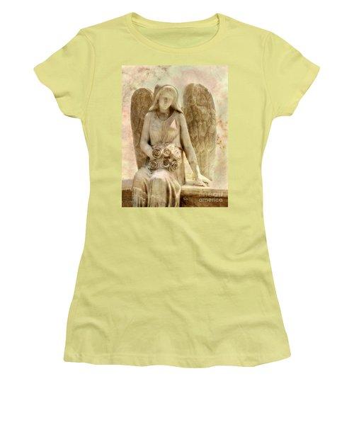 Cemetery Angel Statue Women's T-Shirt (Junior Cut) by Randy Steele