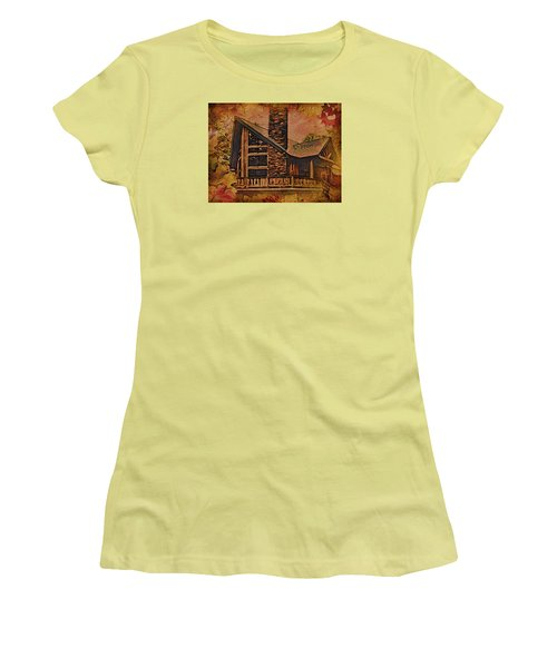 Women's T-Shirt (Junior Cut) featuring the digital art Chalet In Autumn by Kathy Kelly