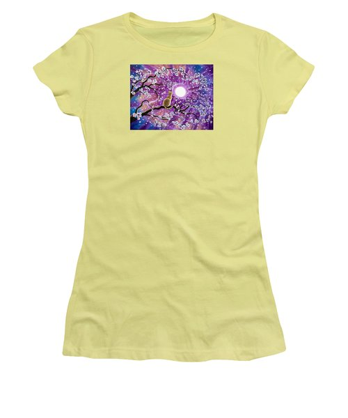 Champagne Tabby Cat In Cherry Blossoms Women's T-Shirt (Athletic Fit)