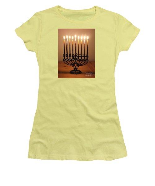 Chanukiah Women's T-Shirt (Junior Cut) by Annemeet Hasidi- van der Leij