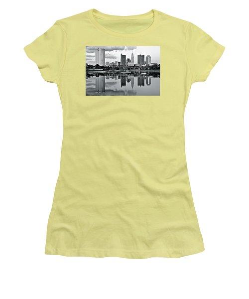 Charcoal Columbus Mirror Image Women's T-Shirt (Junior Cut)