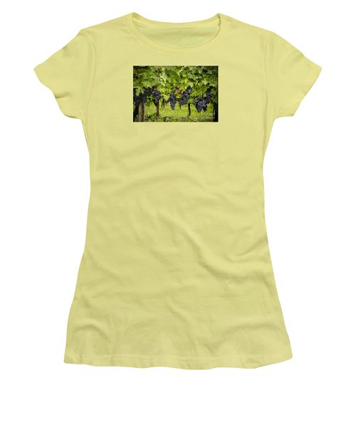 Chardonnay Grape Cluster Women's T-Shirt (Junior Cut) by Perry Van Munster