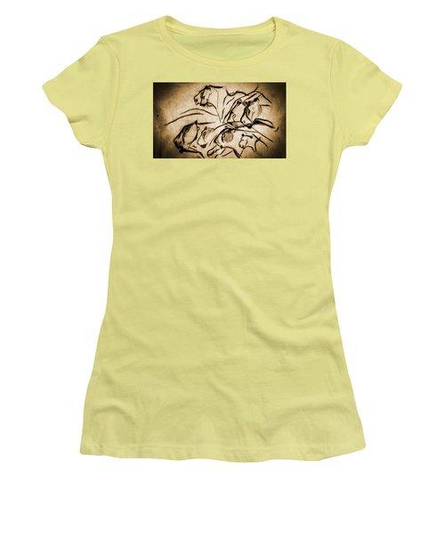 Chauvet Cave Lions Burned Leather Women's T-Shirt (Athletic Fit)