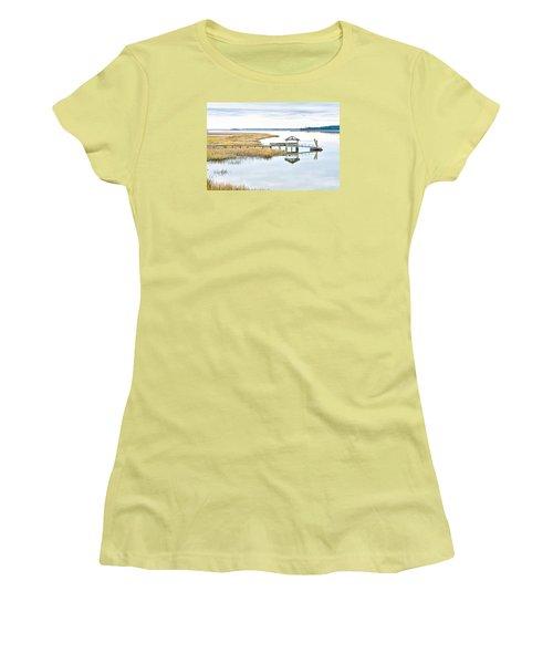 Chechessee Creek Dock Women's T-Shirt (Junior Cut) by Scott Hansen