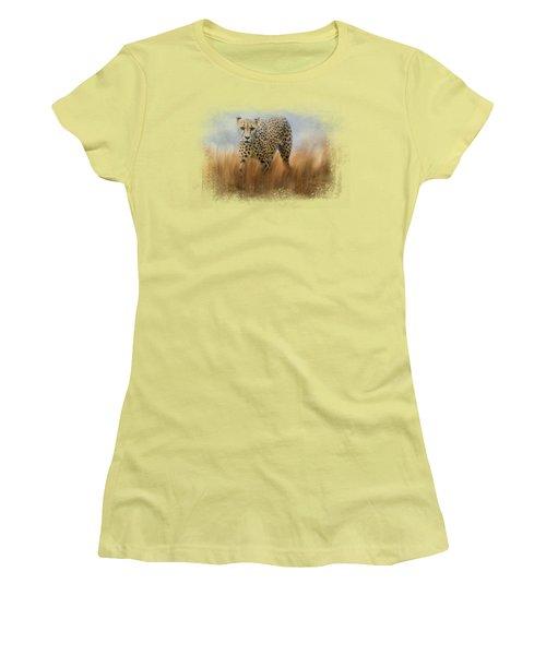 Cheetah In The Field Women's T-Shirt (Junior Cut) by Jai Johnson