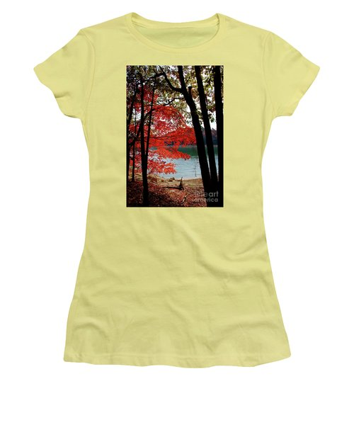 Women's T-Shirt (Junior Cut) featuring the photograph Cherokee Lake Color by Douglas Stucky